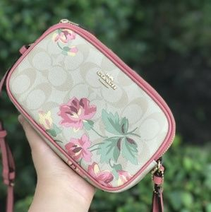 COACH LILY SIGNATURE PRINT Double Zip Bag F7307